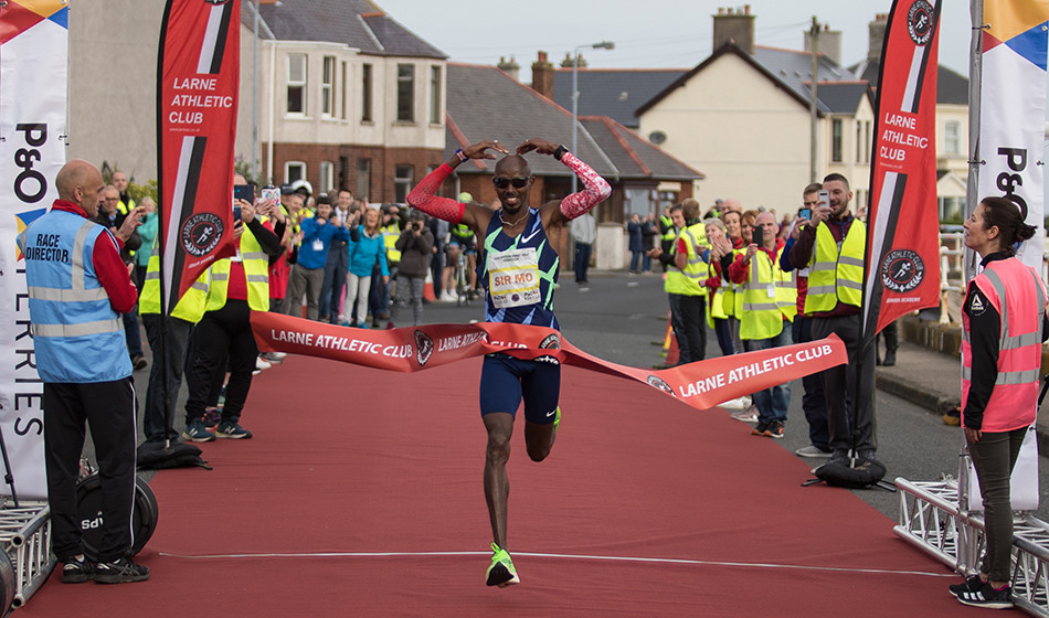 Mo Farah and Lily Partridge were the winners at Antrim Coast Half Marathon
