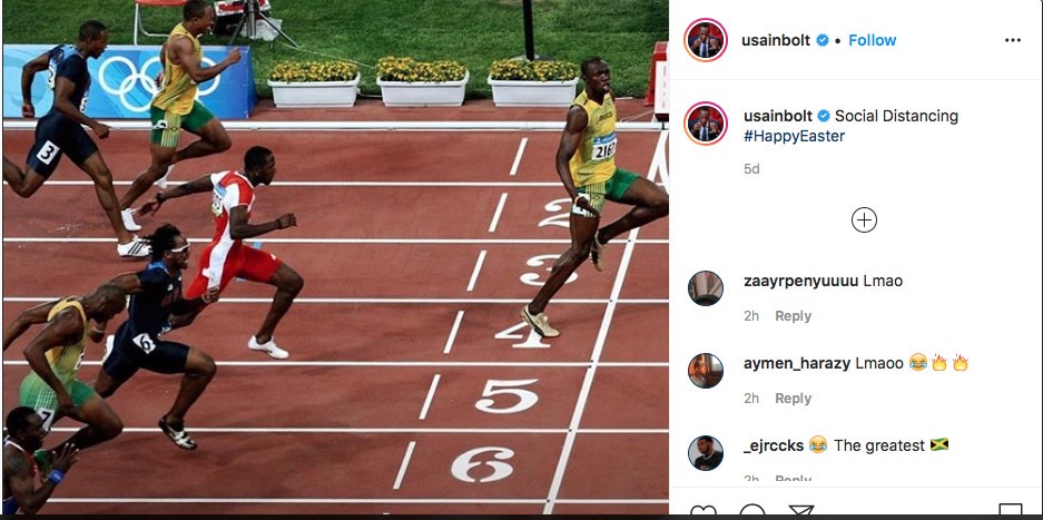 Bolt goes viral with cheeky 'social distancing' Olympic photo