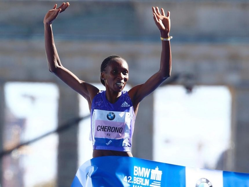 Gladys Cherono of Kenya will put her title on the line at the Berlin Marathon on Sept. 16