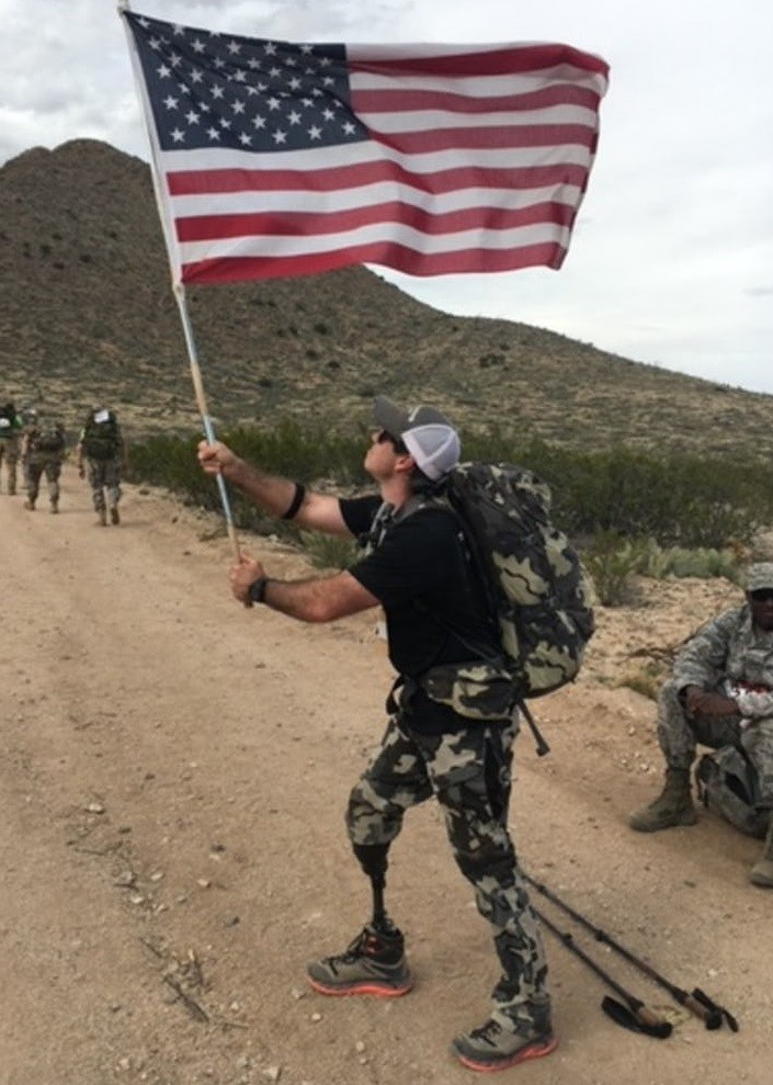 John Wayne Walding a former Green Beret, who lost a leg in battle is running his first marathon at BMW Dallas