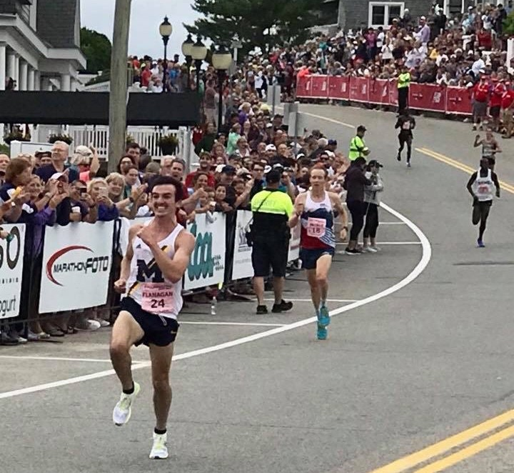 Canada's Ben Flanagan pulls off the win in a crazy sprint to the finish at the New Balance Falmouth Road Race