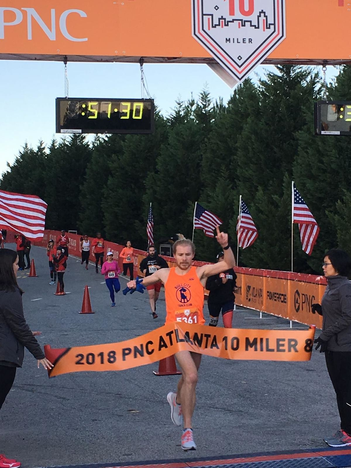 Evan Gates and Laurie Knowles were the winners at the  PNC Atlanta 10 miler