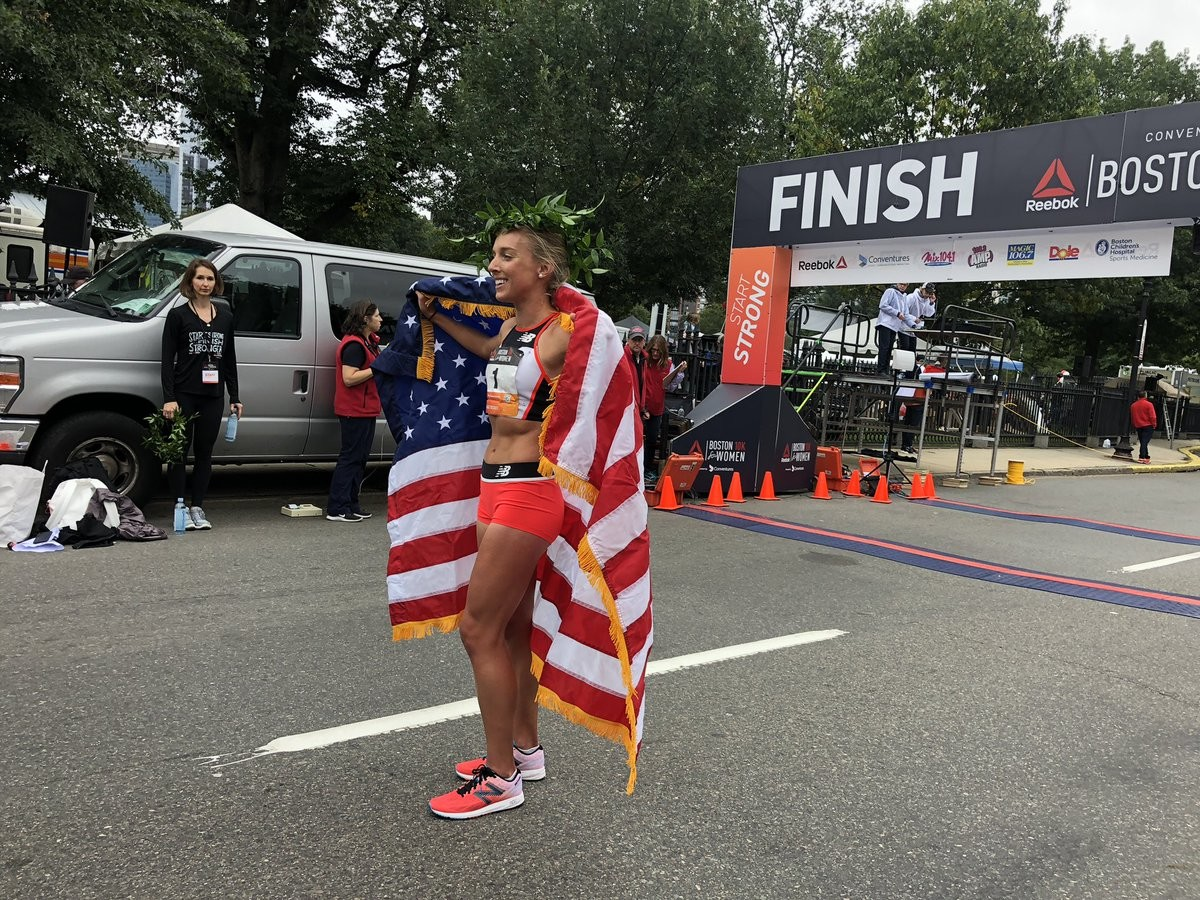 Emily Sisson wins Reebok Boston 10K in record time but course was 380 meters short