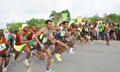 Heavy rains slowed down the field at the 6th annual Okpekpe 10K on Saturday