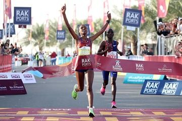 Ababel Yeshaneh from Ethiopian runs the fastest time ever for the half marathon at Ras Al Khaimah beating Brigid Kosgei
