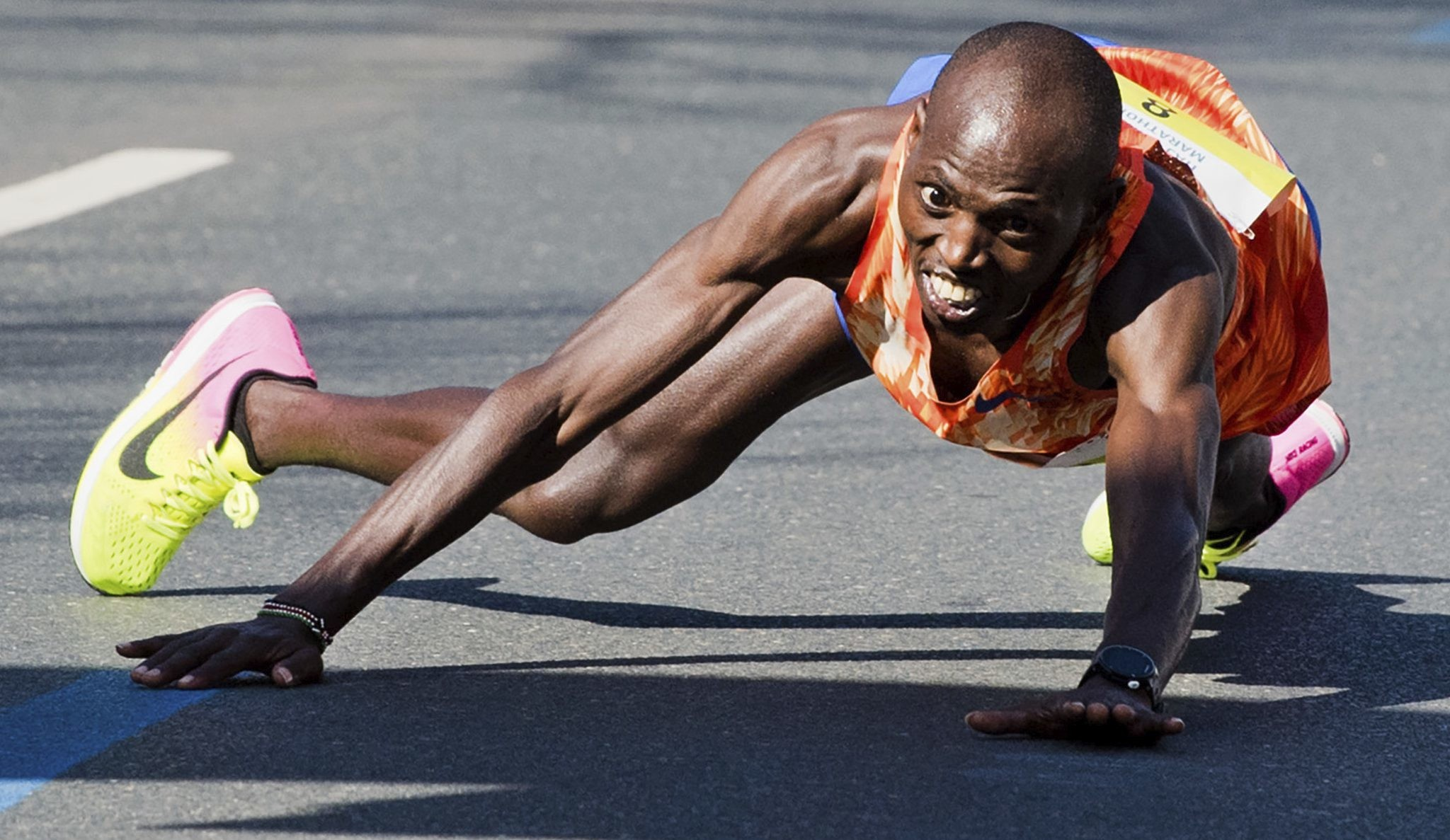 Kenya's Michael Kunyuga was nearing the finish line of the Hannover Marathon when the unexpected happened