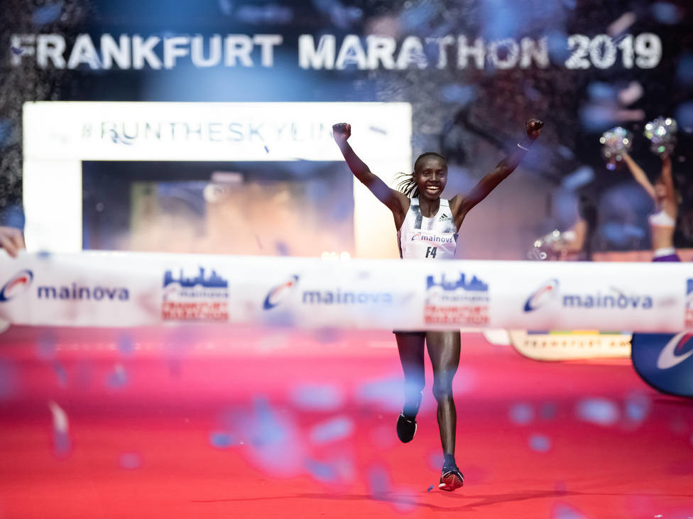 Valary Jemeli Aiyabei smashed the 2:20 barrier at the Mainova Frankfurt Marathon on Sunday clocking 2:19:10