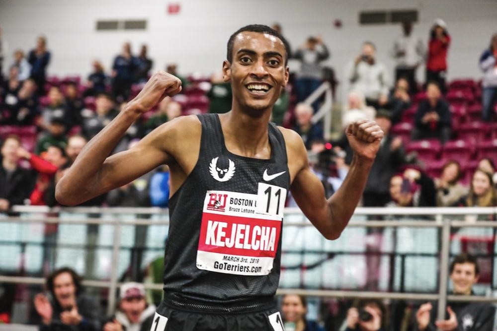 Yomif Kejelcha smashed the Indoor Mile World Record clocking 3:47.01 in Boston Sunday