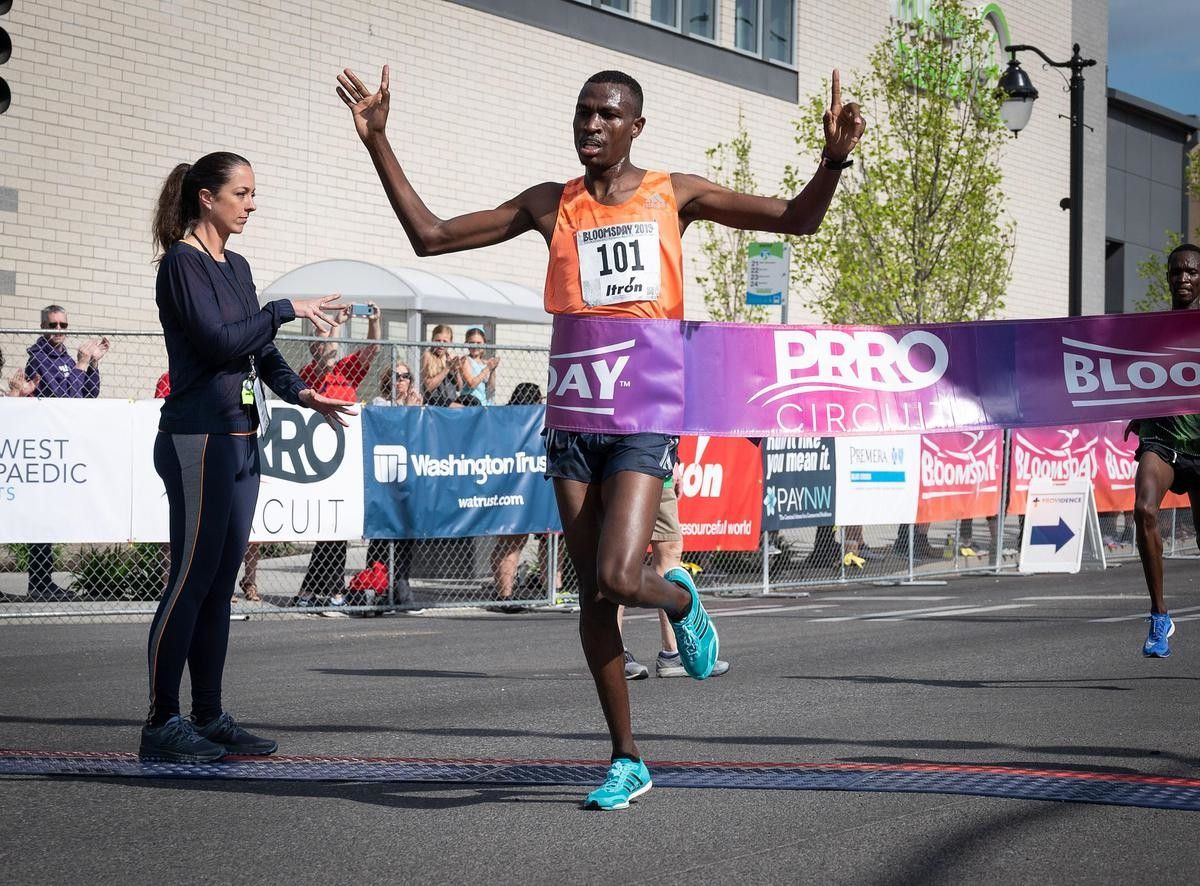 Gabriel Geay of Tanzania and Rosemary Wanjiru of Kenya won the 2019 Lilac Bloomsday 12K Run on Sunday