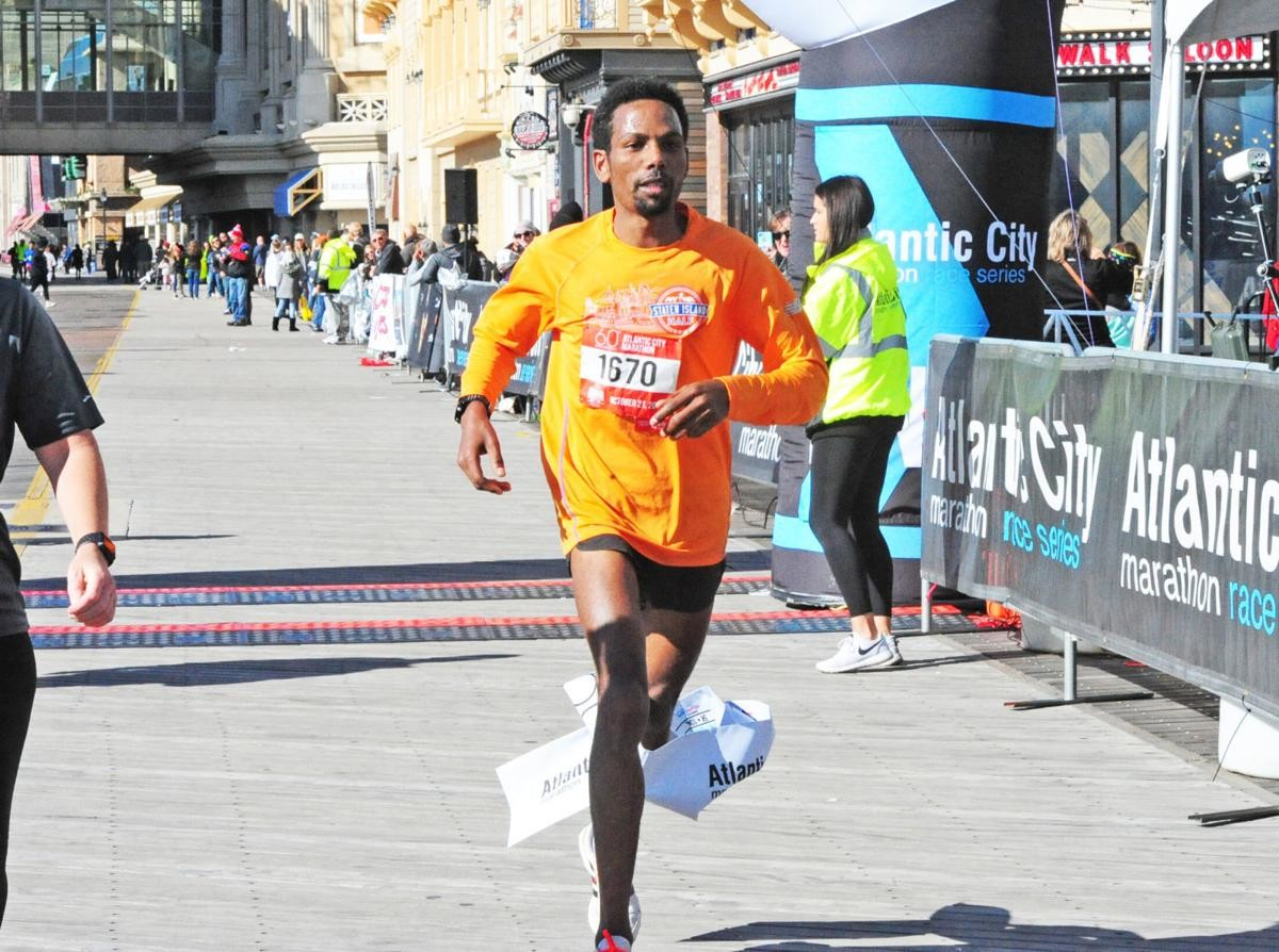 Bereket Alem kidanu of Ethiopia wins the Atlantic City Marathon