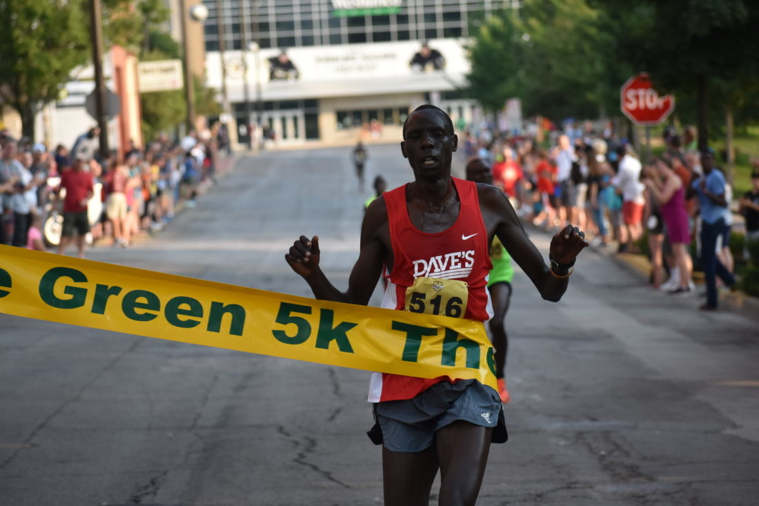 Kiprop Mutai wins the 21st Annual Debbie Green 5K in a blistering time of 14:12 on a hot and humid day