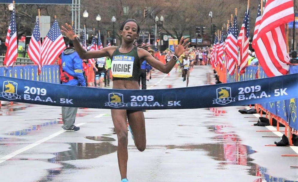 Kenyan Monicah Ngige took the victory honors at the B.A.A. 5K women's clocking 15:16