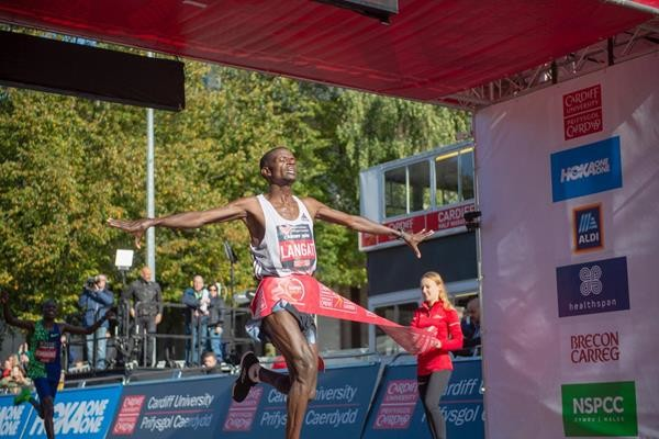 Leonard Langat won the Cardiff Half Marathon clocking 59:30, taking 73 seconds off the course record for the IAAF Silver Label road race on Sunday