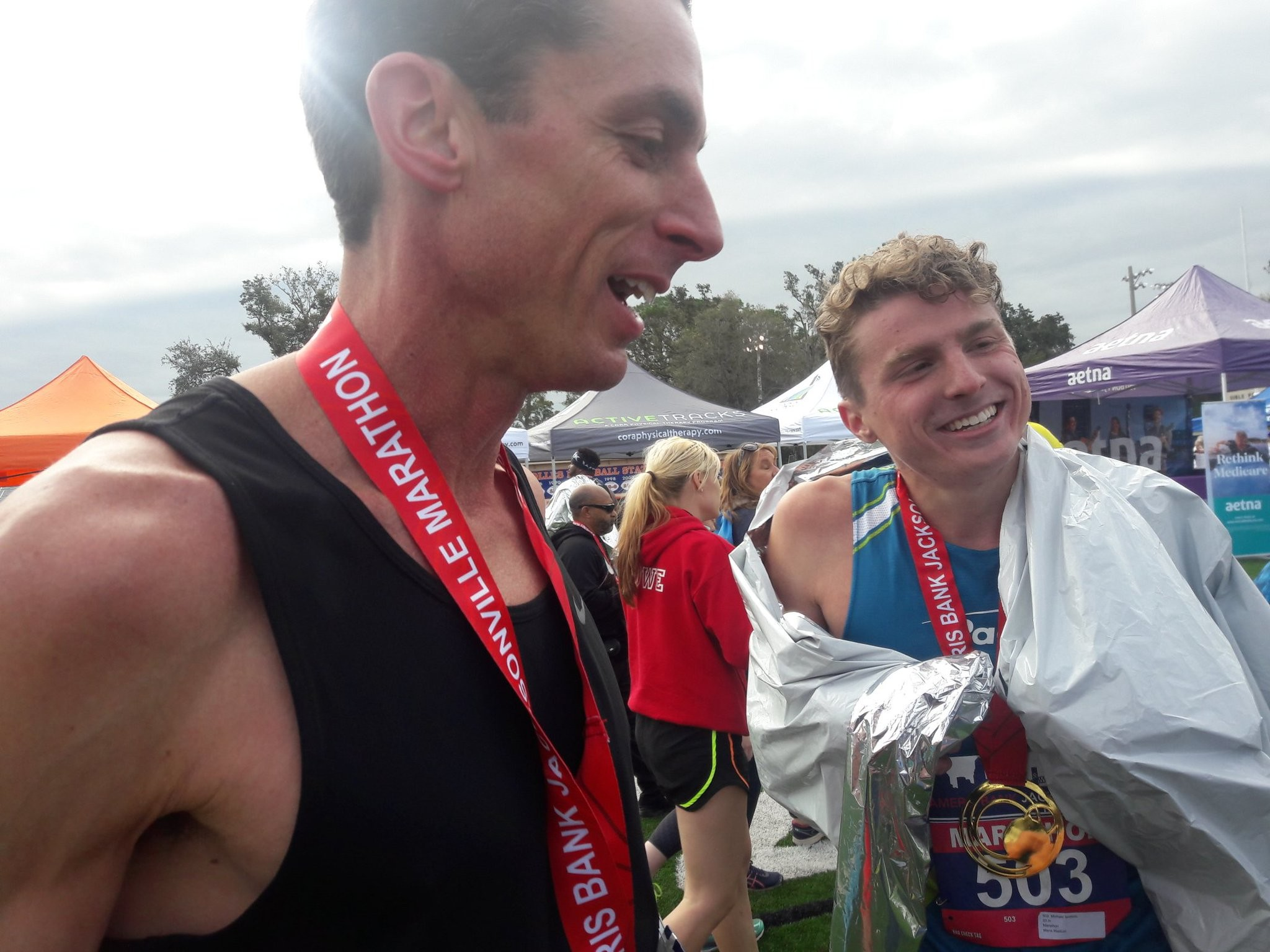 Father Son Place In Top Seven  in Jacksonville Marathon
