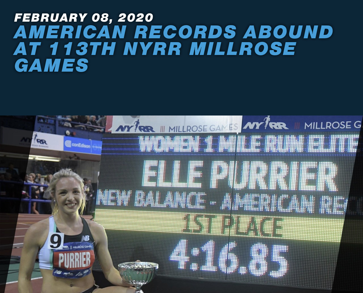 Three indoor American records were set Saturday at the 113th NYRR Millrose  Games in front of a sold out crowd