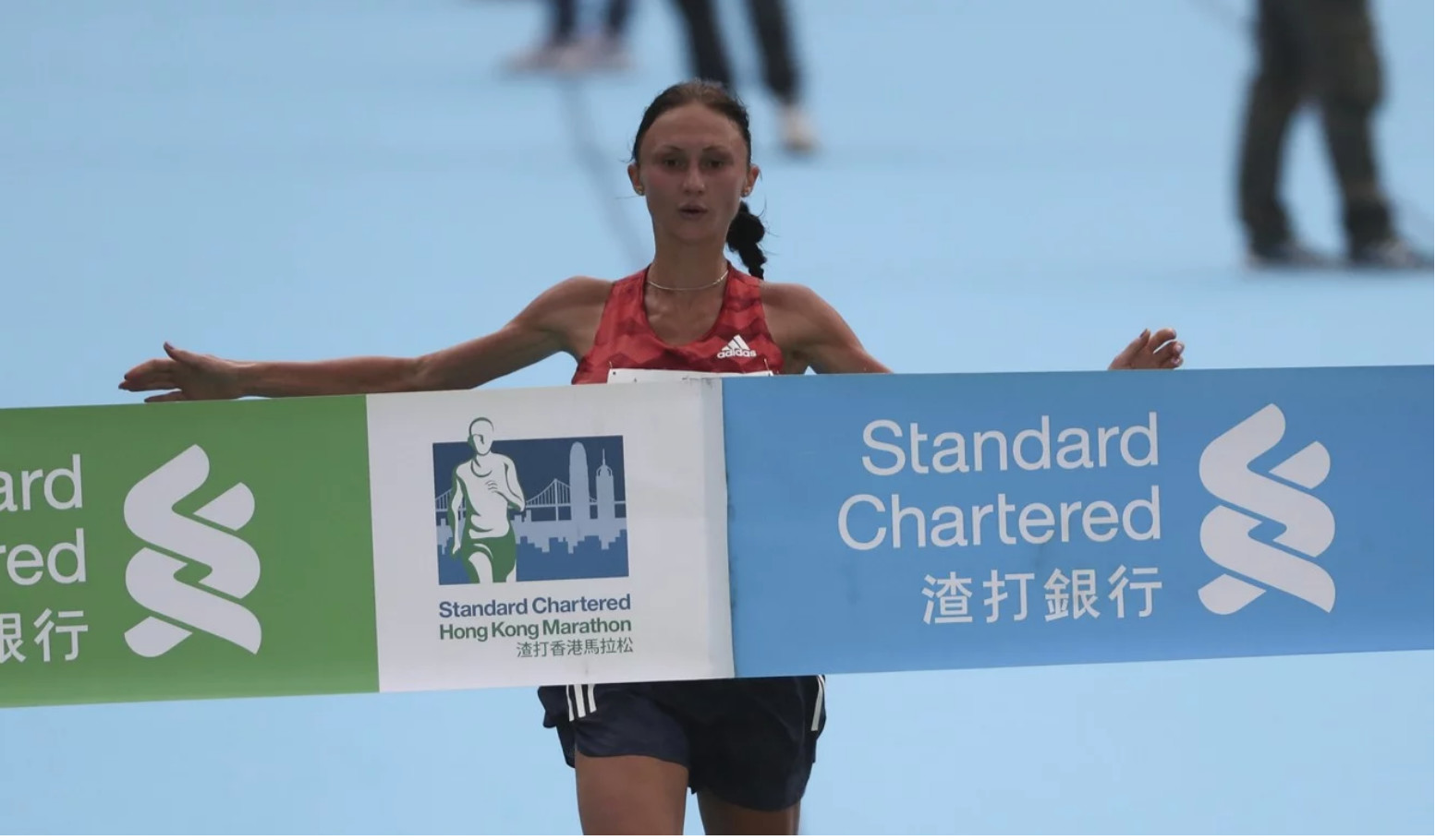 Volha Mazuronak of Belarus blew away the field at the Hong Kong Marathon winning by nearly four minutes