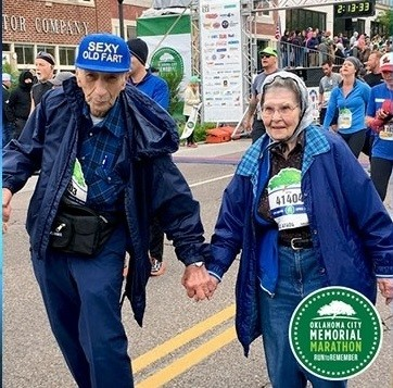 The Kinder's have been married for 61 years and are running the Oklahoma City Marathon again