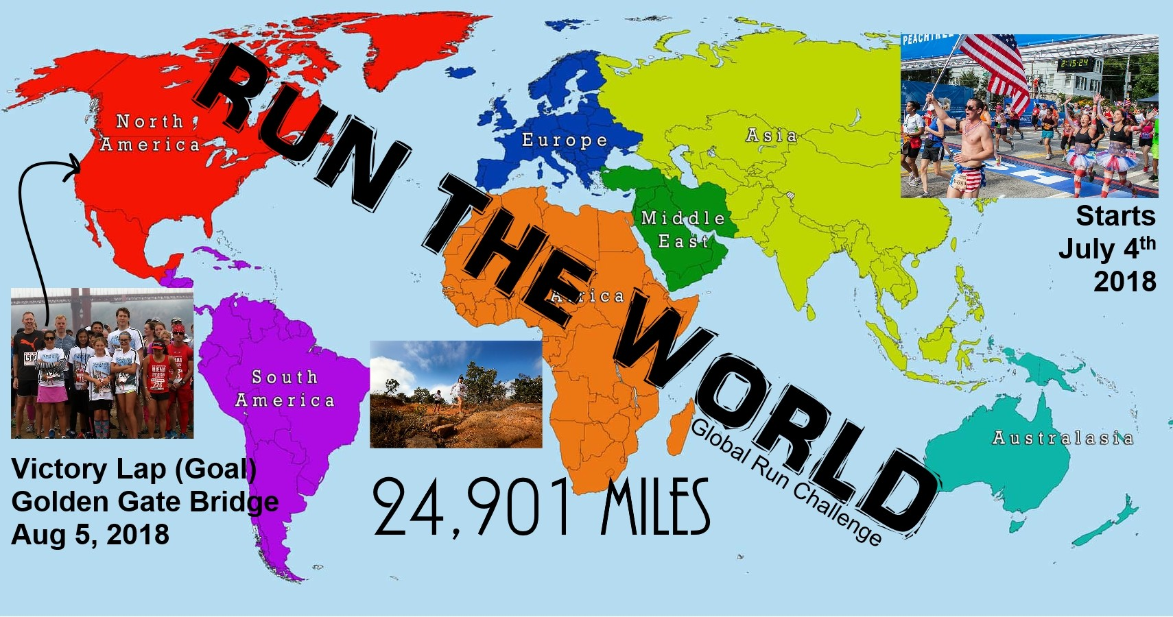 If you love running and would like to show the world, this 24,901 mile challenge circling the world is for you