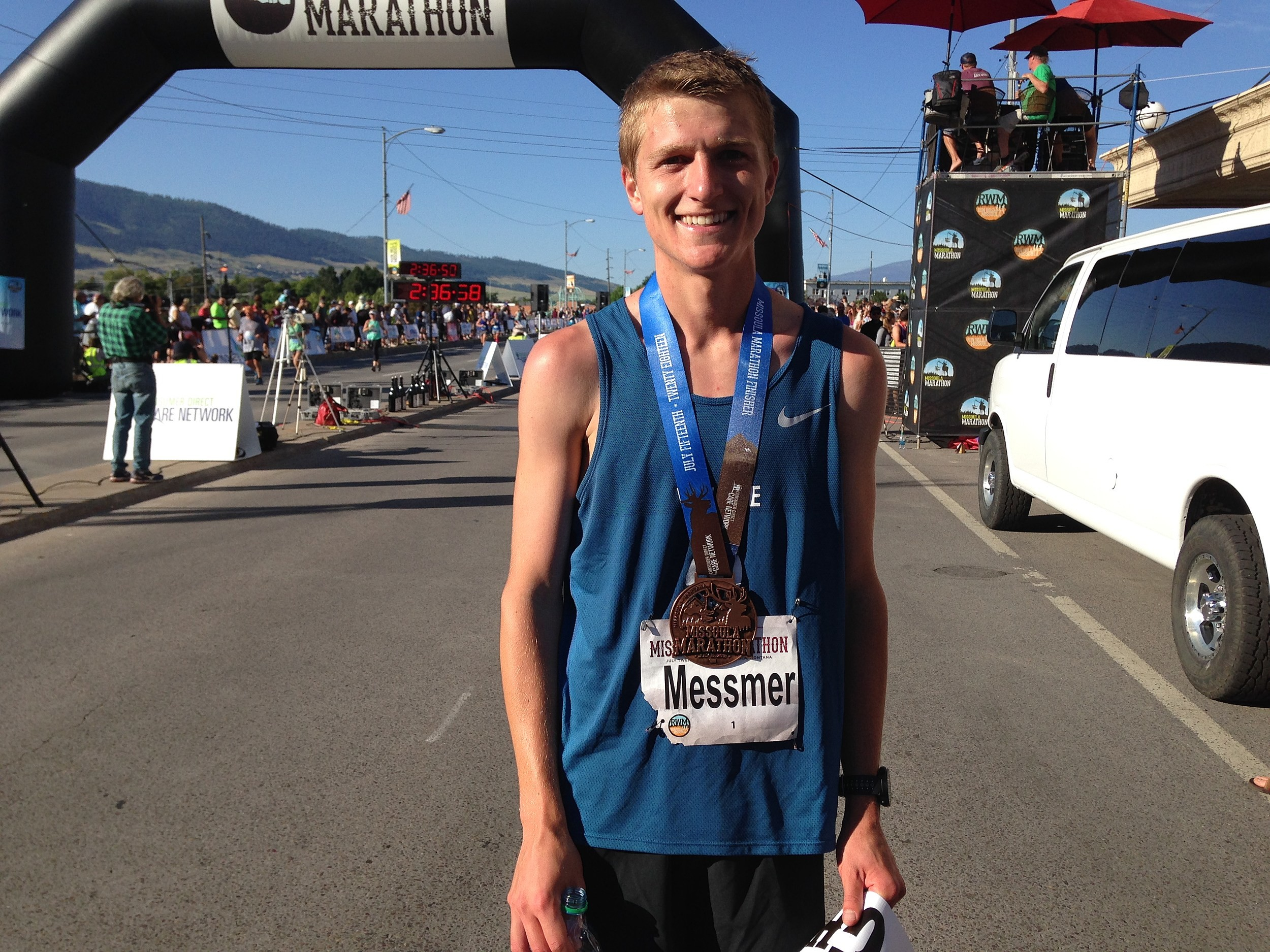 Mark Messmer repeated as the champion of the Missoula men's marathon, breaking his personal best time with a 2:23:59, the second fastest in course history