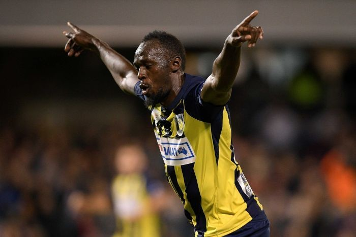 A eight-time Olympic sprint champion Usain Bolt scored the Mariners' third and fourth goals for Central Coast Mariners