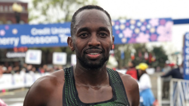 Stanley Kebenei broke the American 10 mile record at the Credit Union Cherry Blossom Ten Mile