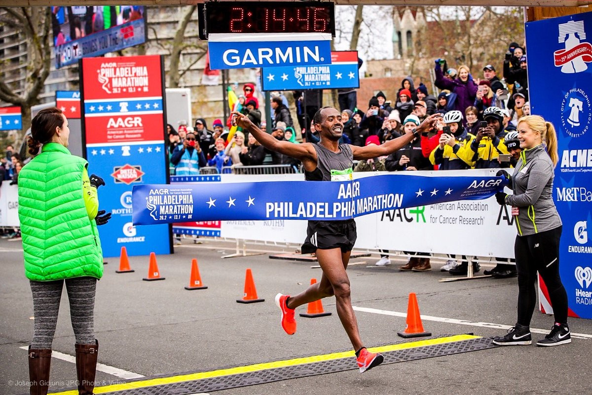 Tadesse Yai Dabi of New York won the men's race in 2:14:46 at Philadelphia Marathon setting a new course record