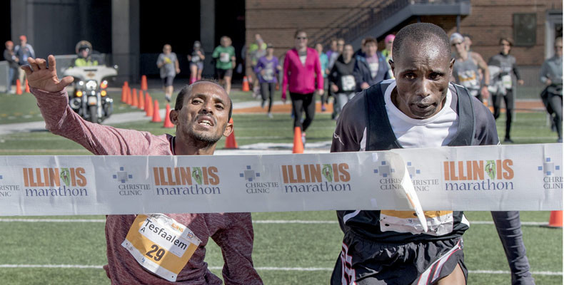 My Best Runs helped tell the world about the photo finish at the 2018 Illinois Marathon