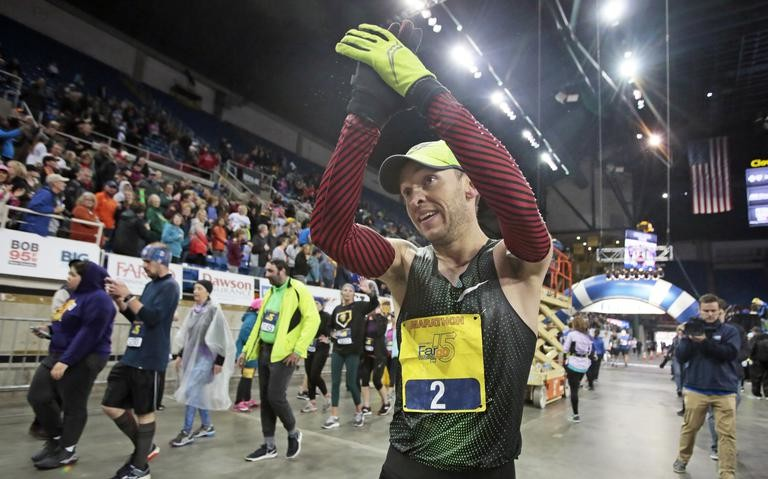 Arturs Bareikis took the lead at 20 miles and went on to win the Sanford Fargo Marathon