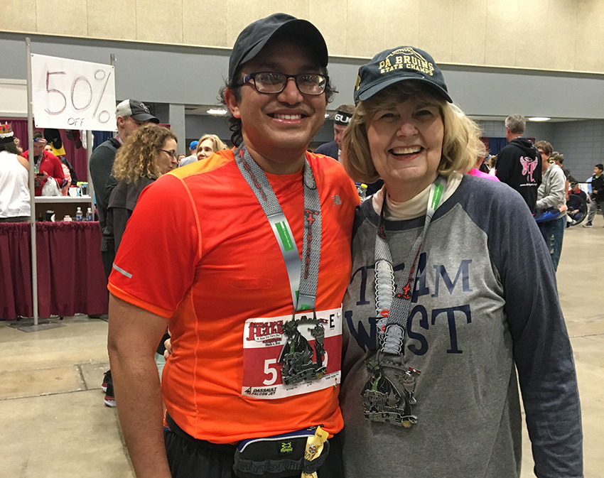 Nikhil ran with two numbers at the Little Rock Half in memory of one of his patients