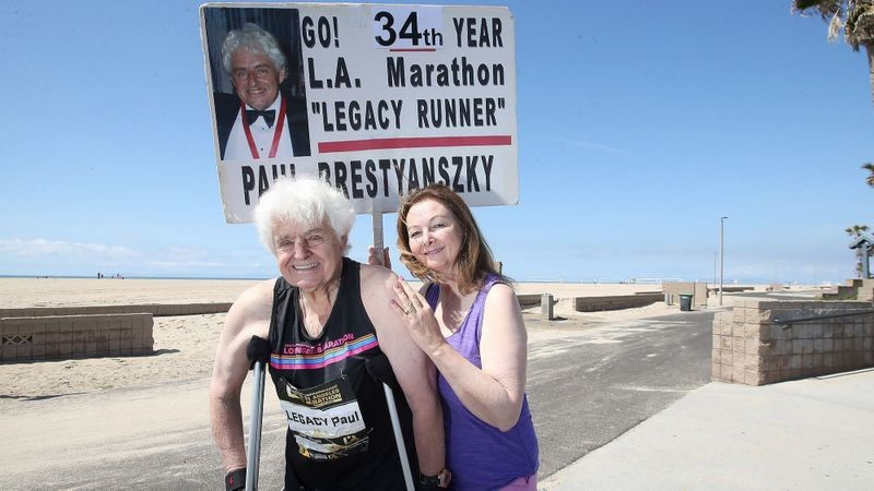Paul Brestyanszky, 76, will attempt L.A. Marathon on crutches to avoid breaking his 33-year streak