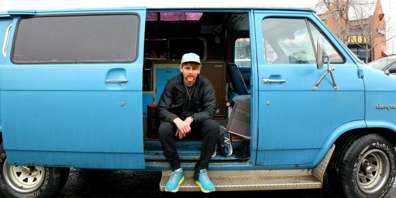 Colby Mehmen is living in his blue 1976 Chevrolet camper van, Pursuing His Olympic Dream