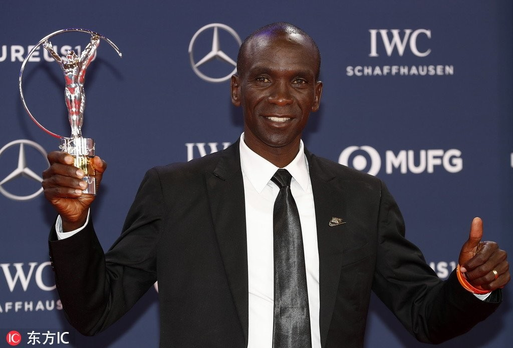 IAAF's World Male Athlete of the Year Eliud Kipchoge has been recognized at the Laureus Awards in Monaco yesterday