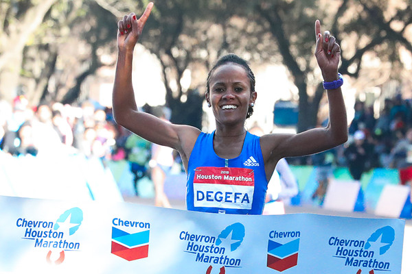 Defending champion Biruktayit Degefa is hoping to get a third title at the Houston Marathon
