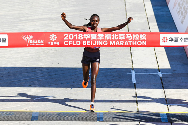 Valary Jemeli Aiyabei  from Kenya becomes the first ever Kenyan winner of the women's race at Beijing Marathon