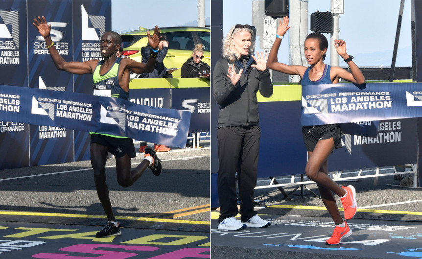Elisa Barno and Askale Merachi win the Los Angeles Marathon