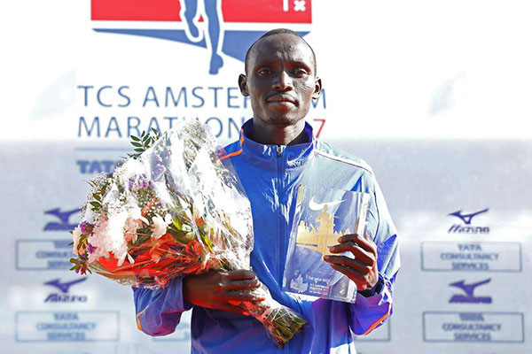 Marathon champion Lawrence Cherono of Kenya, wants to retain his title and improve the course record in the Dutch city on Oct. 21