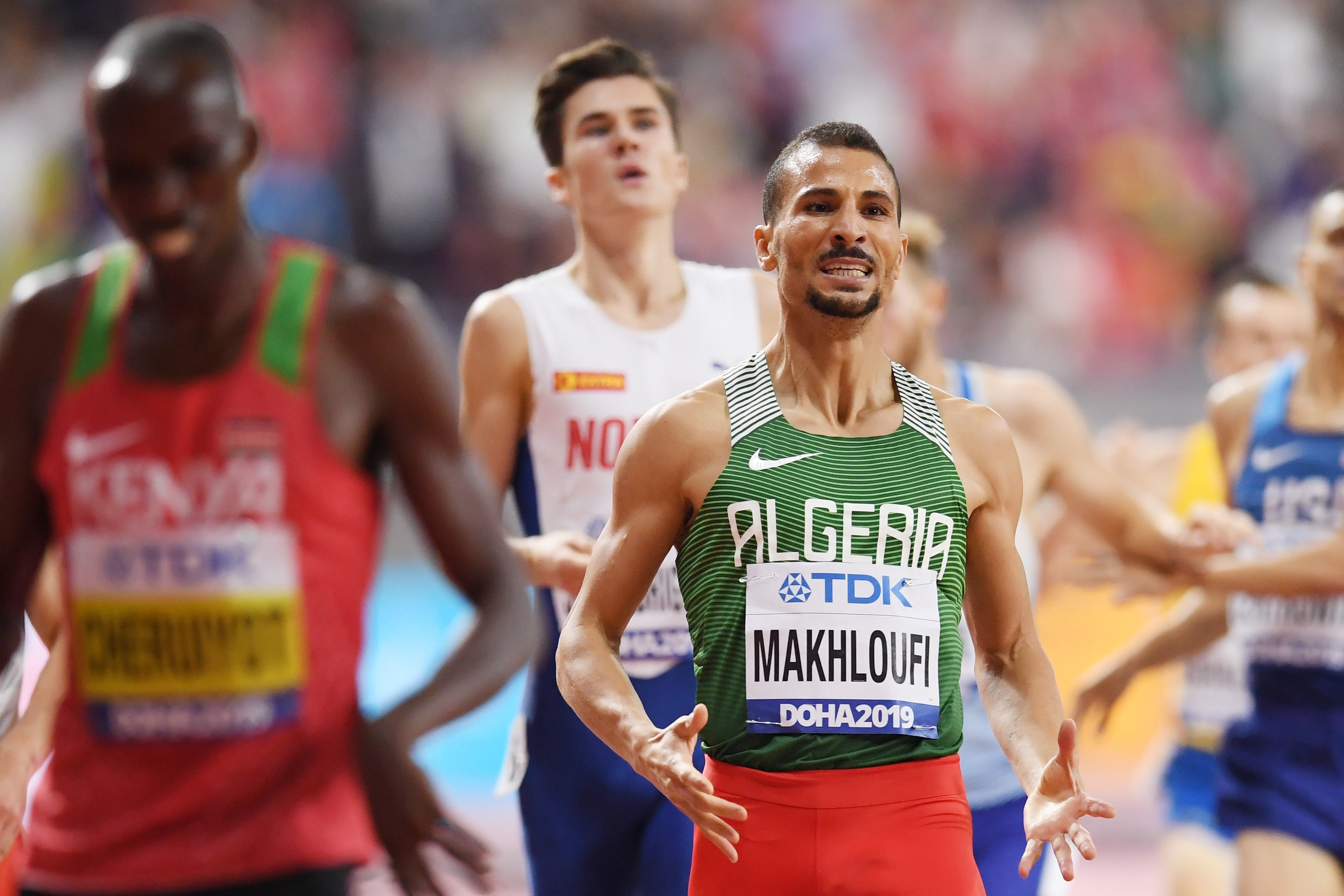 Olympic and world medalist Taoufik Makhloufi of Algeria, linked to gym bag of drug paraphernalia