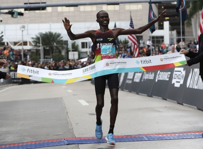 Kenya's Ezekiel Kipsang won the Miami Marathon clocking 2:16:34
