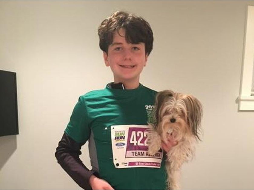 12-year-old Eric Wittig has severe allergies to peanuts and is running in the Sun Run for food allergy research and treatment