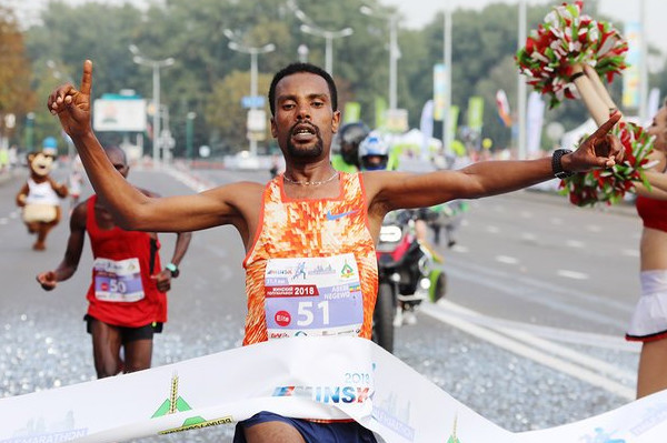 Ethiopia's Abebe Negewo broke the course record at the Minsk Half Marathon
