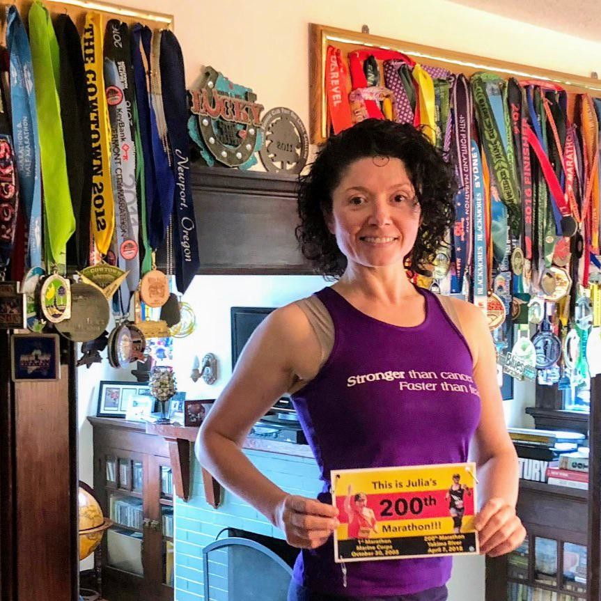 Cancer survivor Julia Khvasechko will run her 229th marathon at this year's Air Force Marathon on Sept. 21