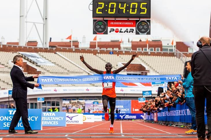 Lawrence Cherono shattered the course record at Amsterdam Marathon