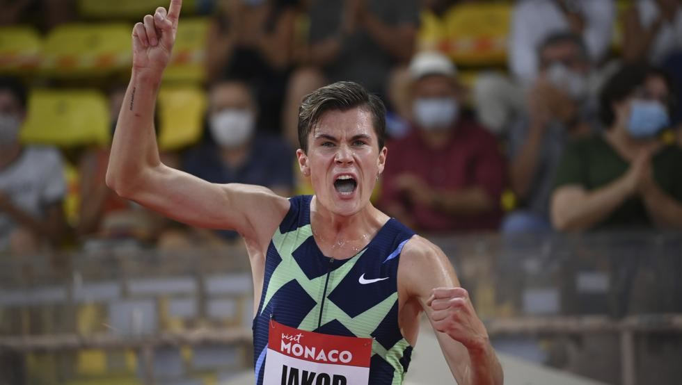 European champion Jakob Ingebrigtsen from Norway set his second European record of the season in the 1500m with 3:28.68 in the Monaco Diamond League on Friday