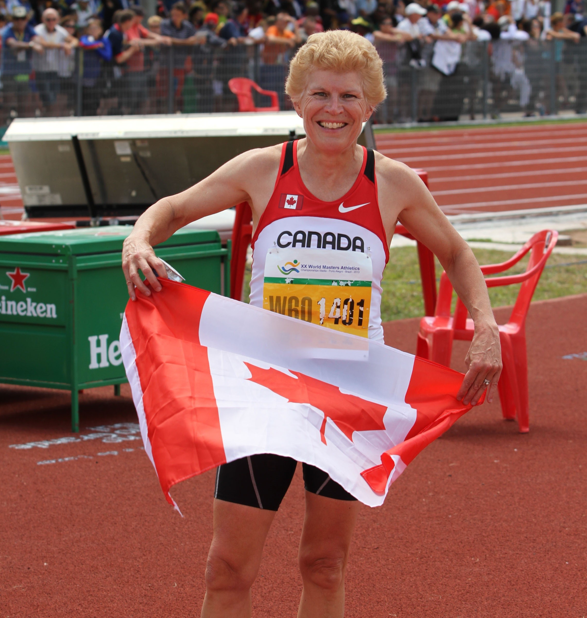 Karla del Grande of Toronto set new world records in both the 100m and 200m for women aged 65-69 at the World Masters Athletics Championships