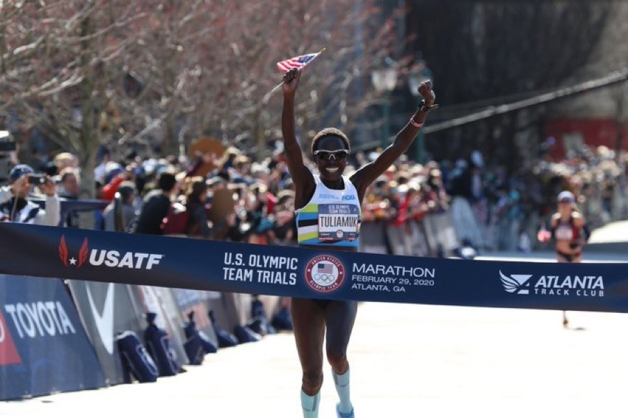 Aliphine Tuliamuk is the women's U.S. Olympic Marathon Trials champion