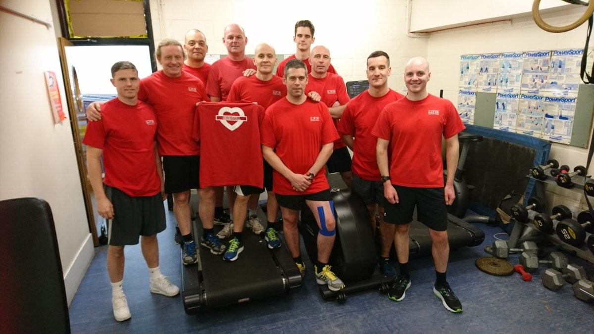 Firemen running the London Marathon to raise funds for the victims of the Grenfell Tower fire
