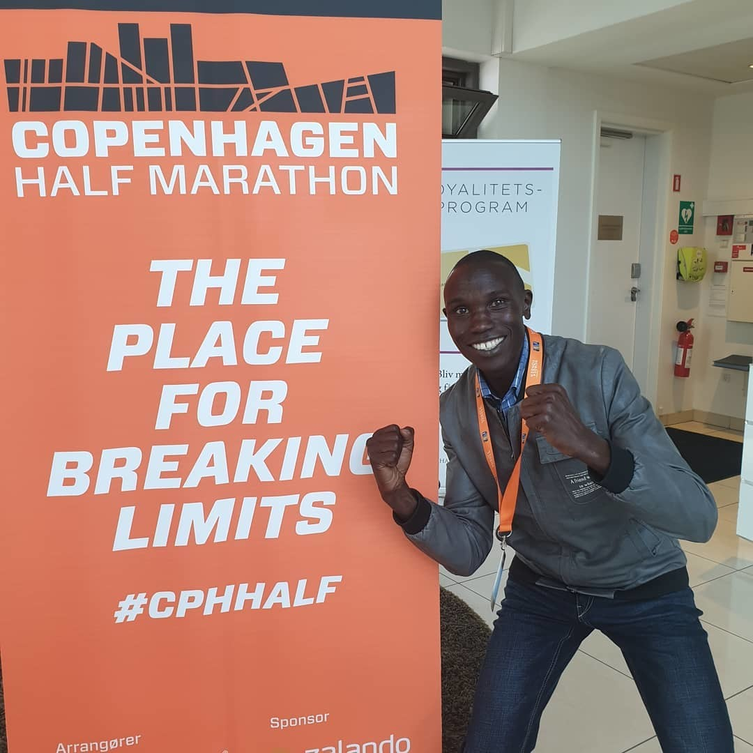 Geoffrey Kamworor, a three-time half marathon world champion, arrives in Denmark for Copenhagen half marathon
