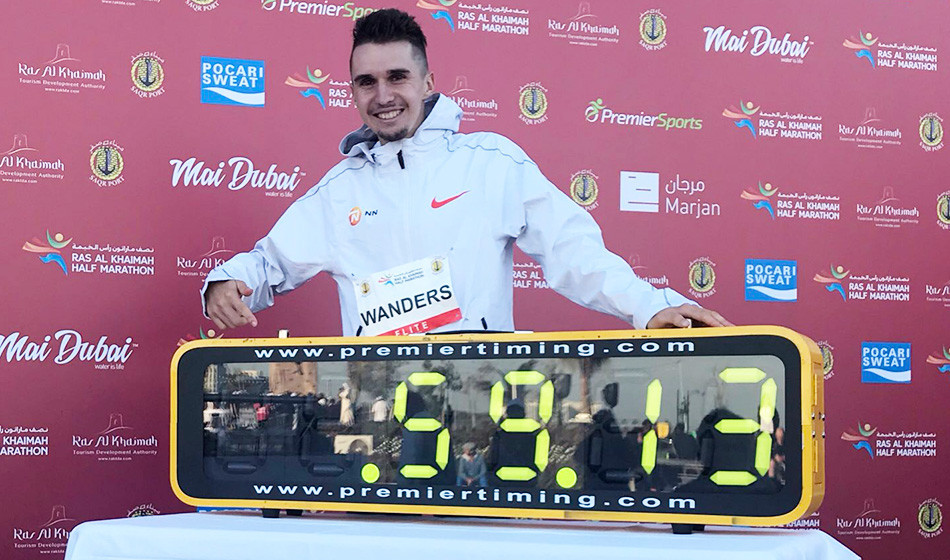 Switzerland's Julien Wanders made history this morning by setting a European record of 59:13 at the 2019 RAK Half Marathon