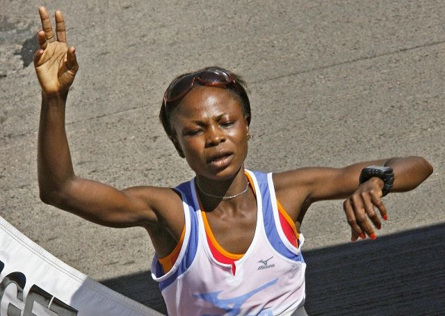 Akor had to be carried away from the podium at Lagos City Marathon