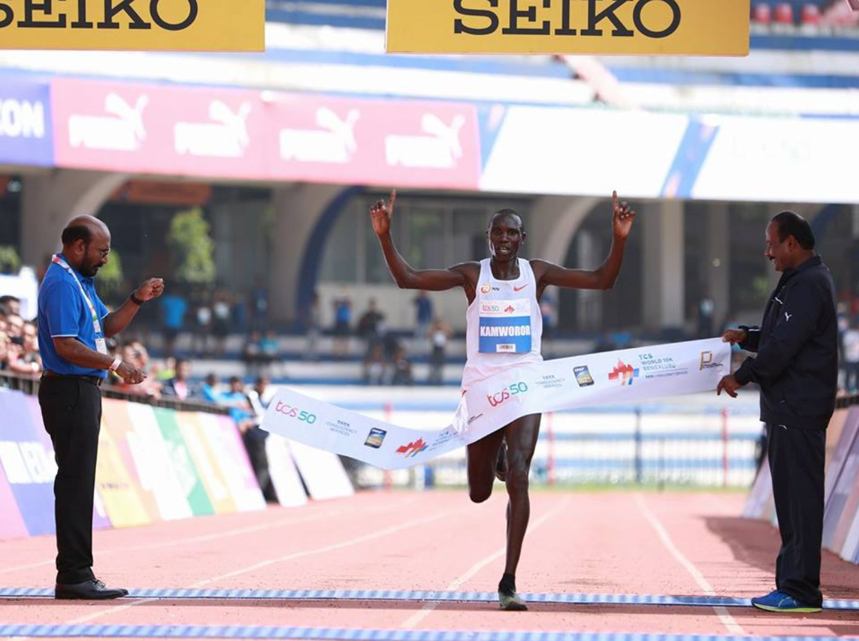 The hot and humid weather did not stop Geoffrey Kamworor from winning the TCS World 10K